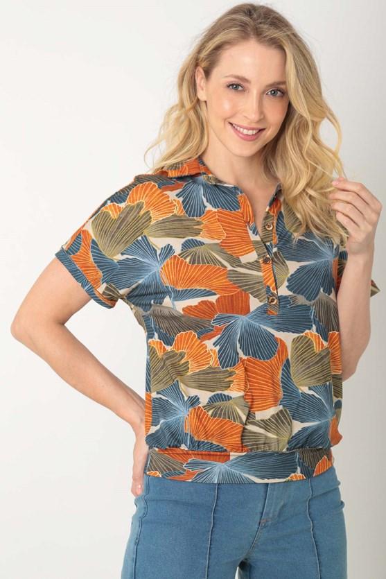 Camisa sem cava gola caminhos de folhas laranja