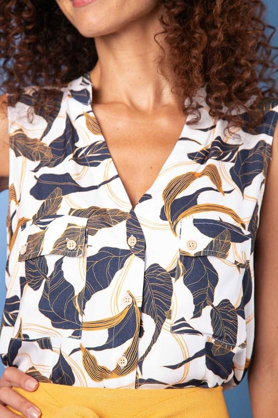 Camisa Sem Manga Com Bolsos Viscose Sarjada Folhagem