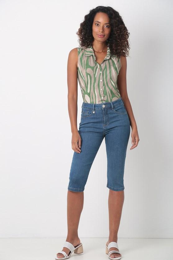 Camisa sem manga de malha verde
