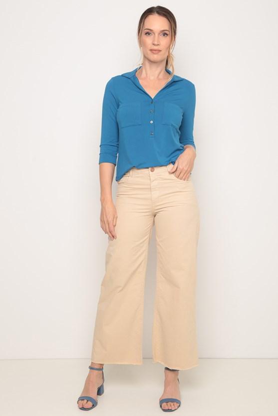Camisa viscolycra bolsos manga 3/4 azul