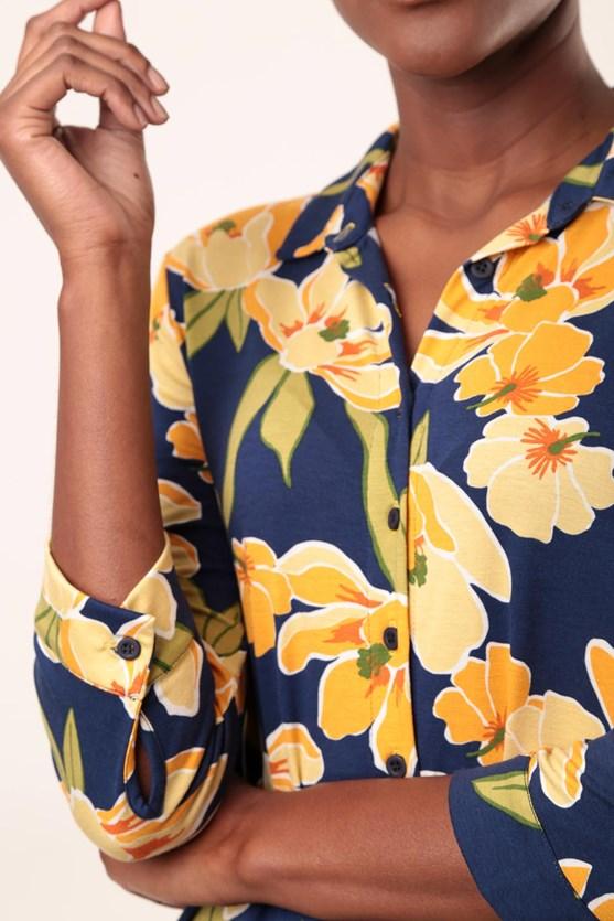 Camisa Viscolycra Flores Contornados