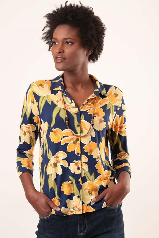 Produto Camisa Viscolycra Flores Contornados