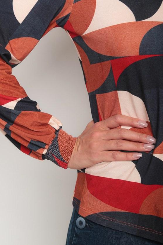 Camisa viscolycra manga longa novo geométrico azul marinho