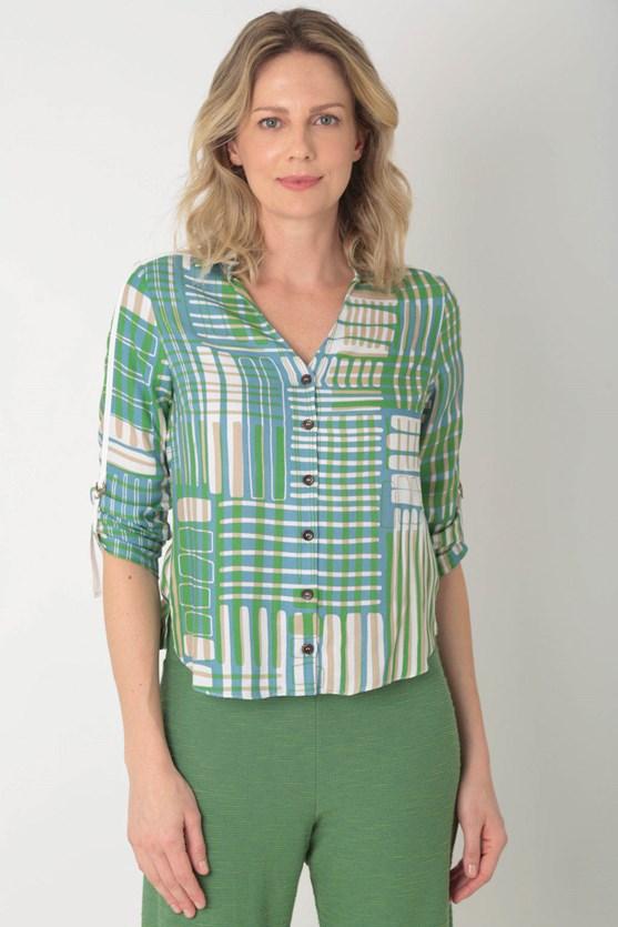 Camisa viscose detalhe ajuste manga 7/8 azul