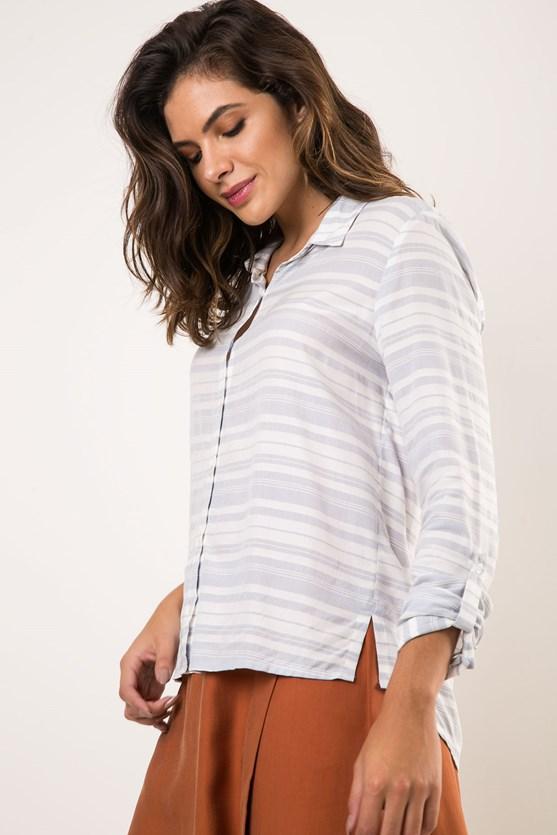 Camisa Viscose Listras Irregulares