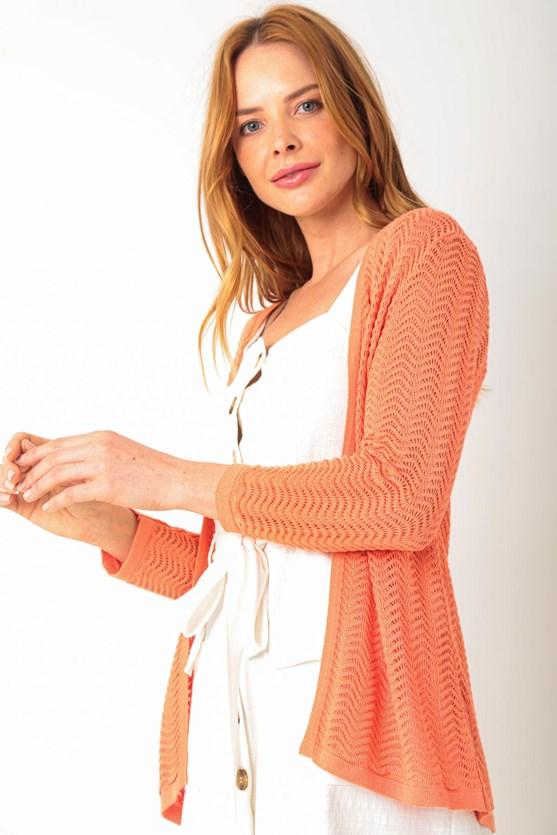 Cardigan fio de viscose pontos ondulados laranja