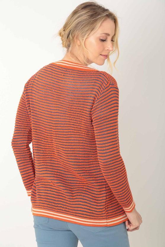 Cardigan tricot aberto tricolor laranja