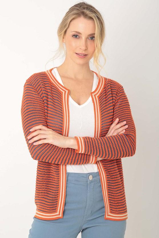 Cardigan tricot aberto tricolor lj laranja