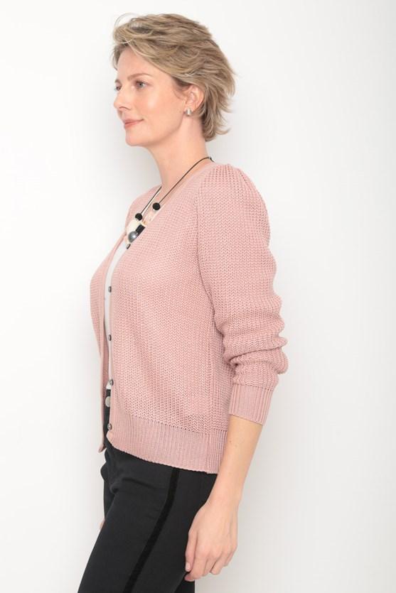 Cardigan tricot manga bufante franzido rs rosa