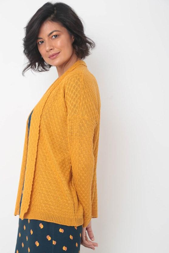 Cardigan tricot manga longa amarelo