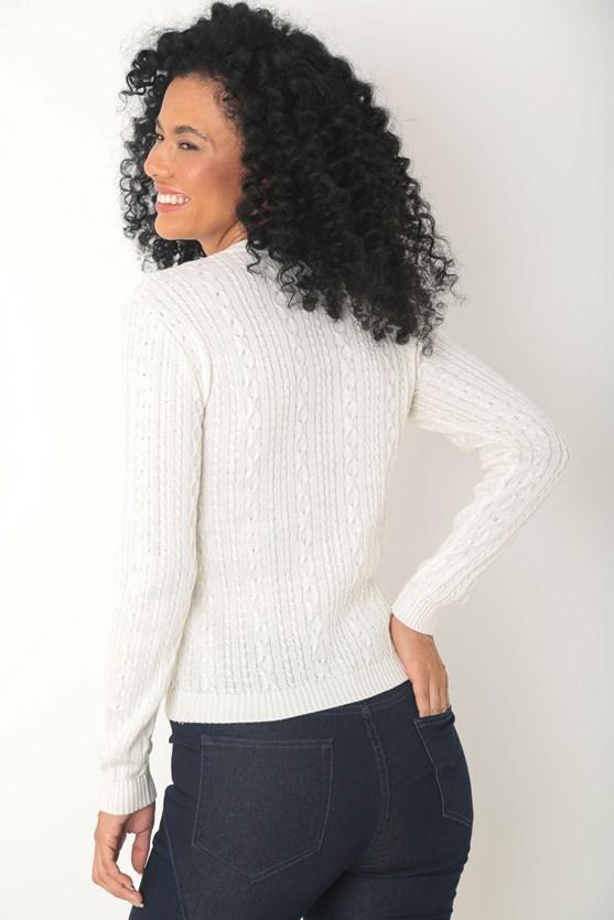 Cardigan tricot trançado delicado off white