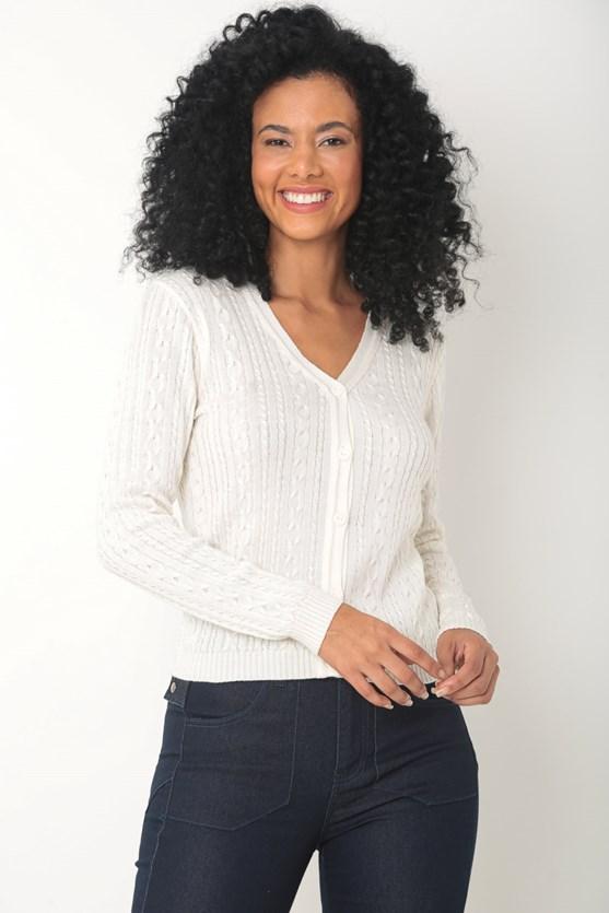 Produto Cardigan tricot trançado delicado off white