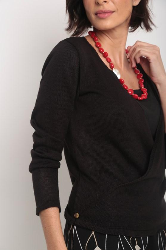 Cardigan tricot transpassado botões barra  preto