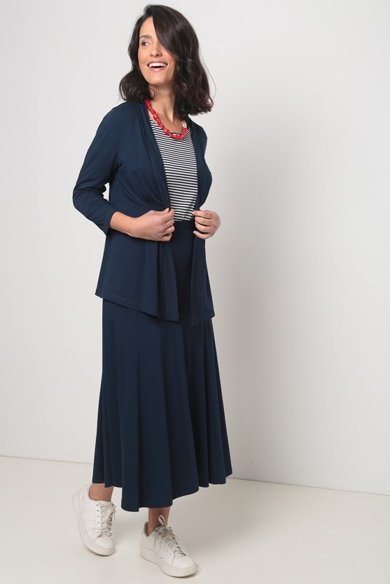 Cardigan viscolycra recorte cintura azul marinho