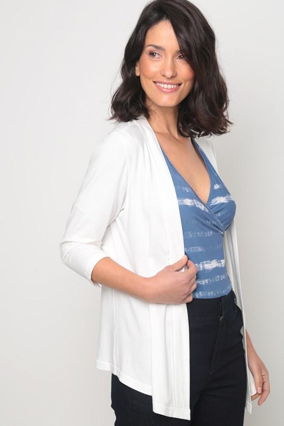 Cardigan viscolycra recorte cintura off white