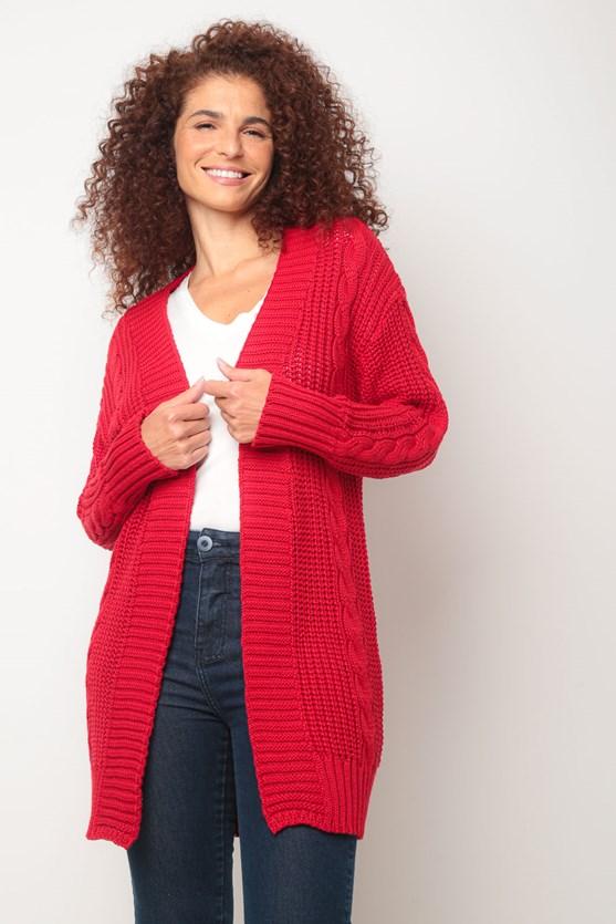Casaco trança tricot aberto vermelho