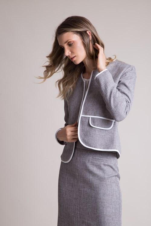 Casaqueto Sem Botão Manga Longa Com Vivo Em Tweed