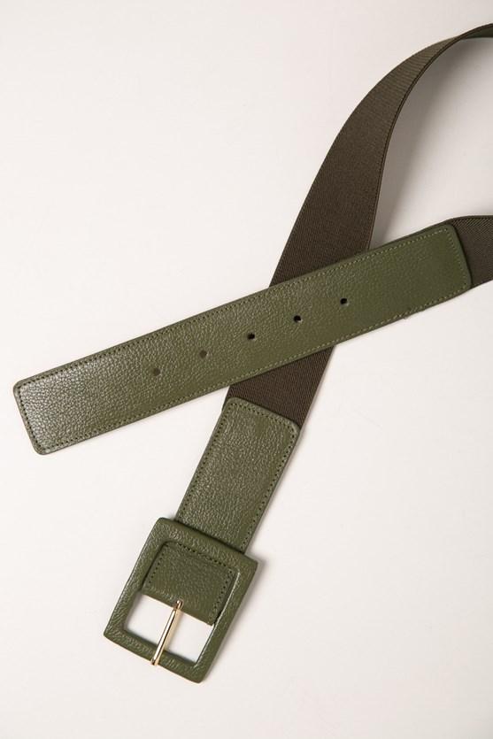 Cinto elástico fivela retângulo verde militar