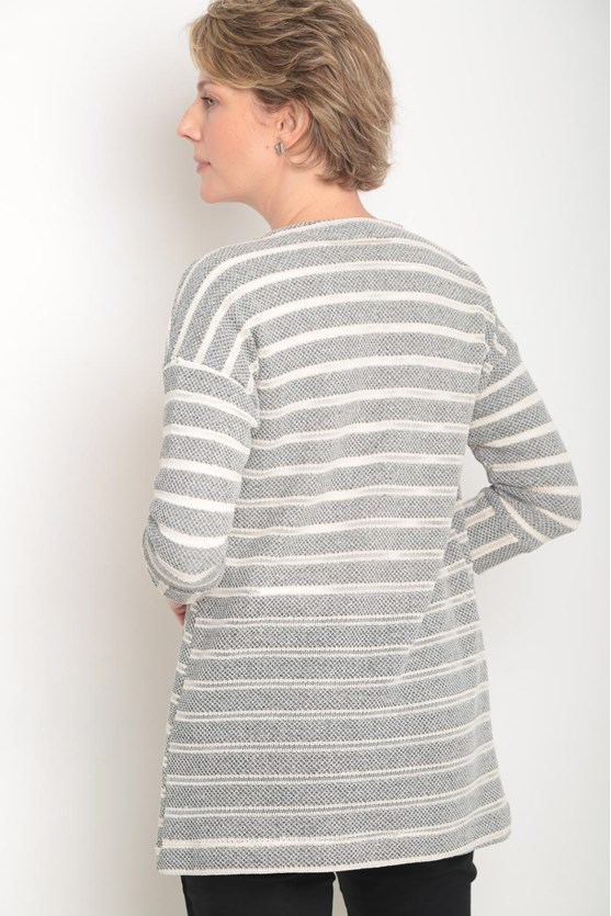 Cobertura malha tricô listras preto