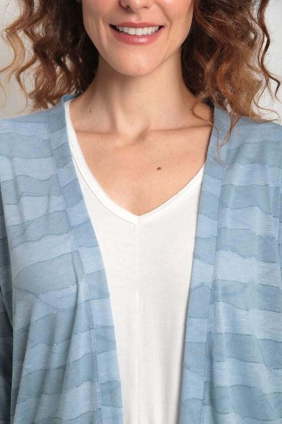 Cobertura manga longa fio lurex  az azul