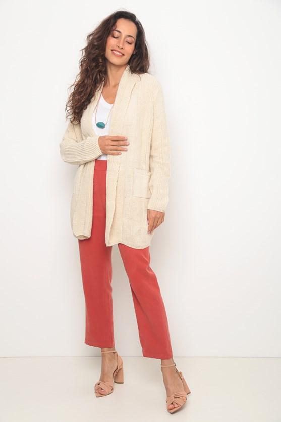 Cobertura tricot longo bolsos off white