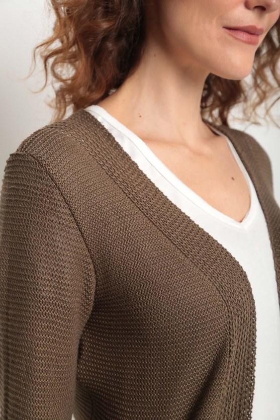 Cobertura tricot pontos em linha caqui