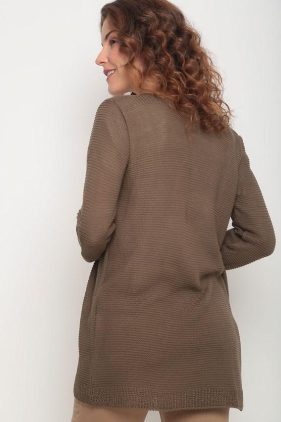 Cobertura tricot pontos em linha cq caqui