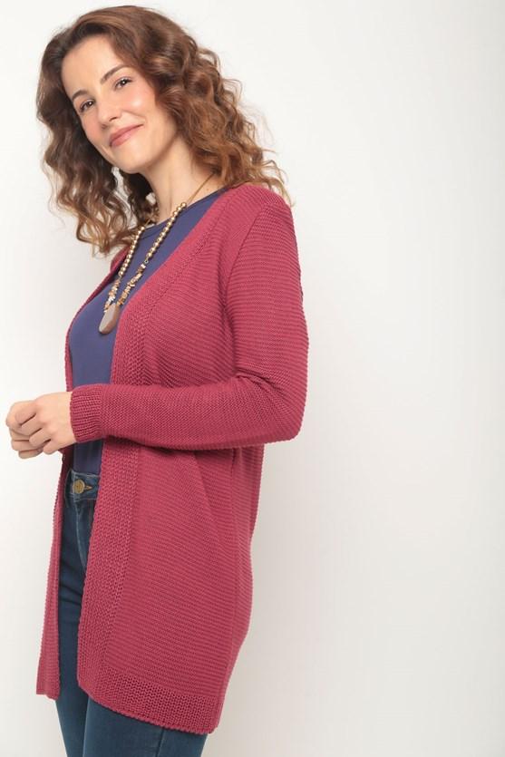 Cobertura tricot pontos em linha rosa