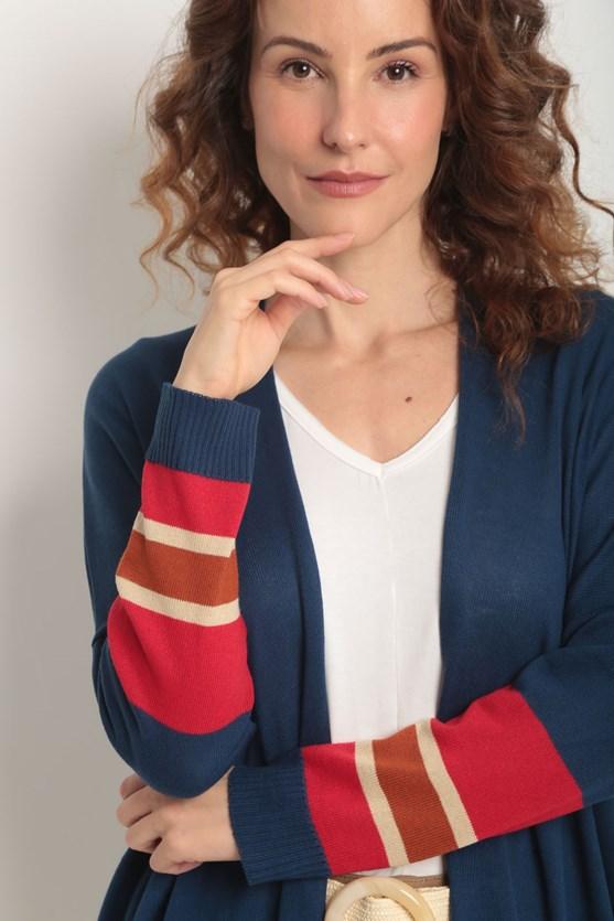 Cobertura tricot reta detalhe listras manga azul marinho