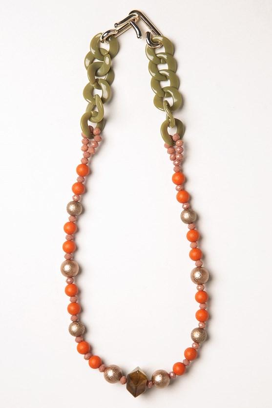 Colar corrente gotas e pedra laranja