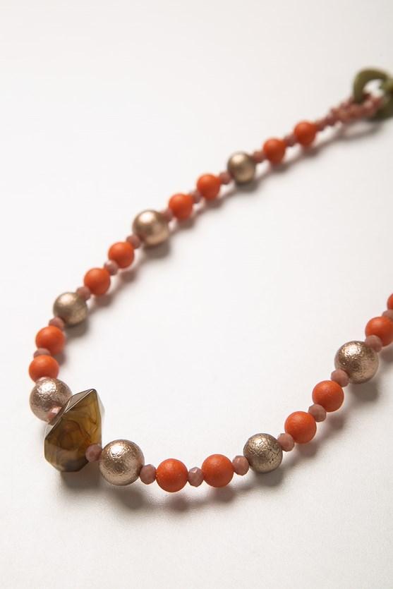 Colar corrente gotas e pedra lj laranja