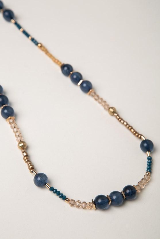Produto Colar longo pedras da noite azul marinho