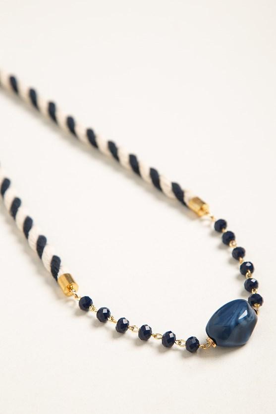 Colar pedra e cordão torcido azul marinho