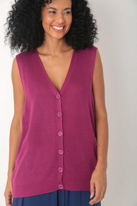Colete tricot com botões  rosa
