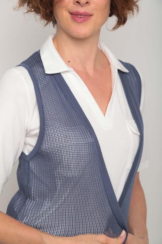 Colete tricot ponto aberto  azul