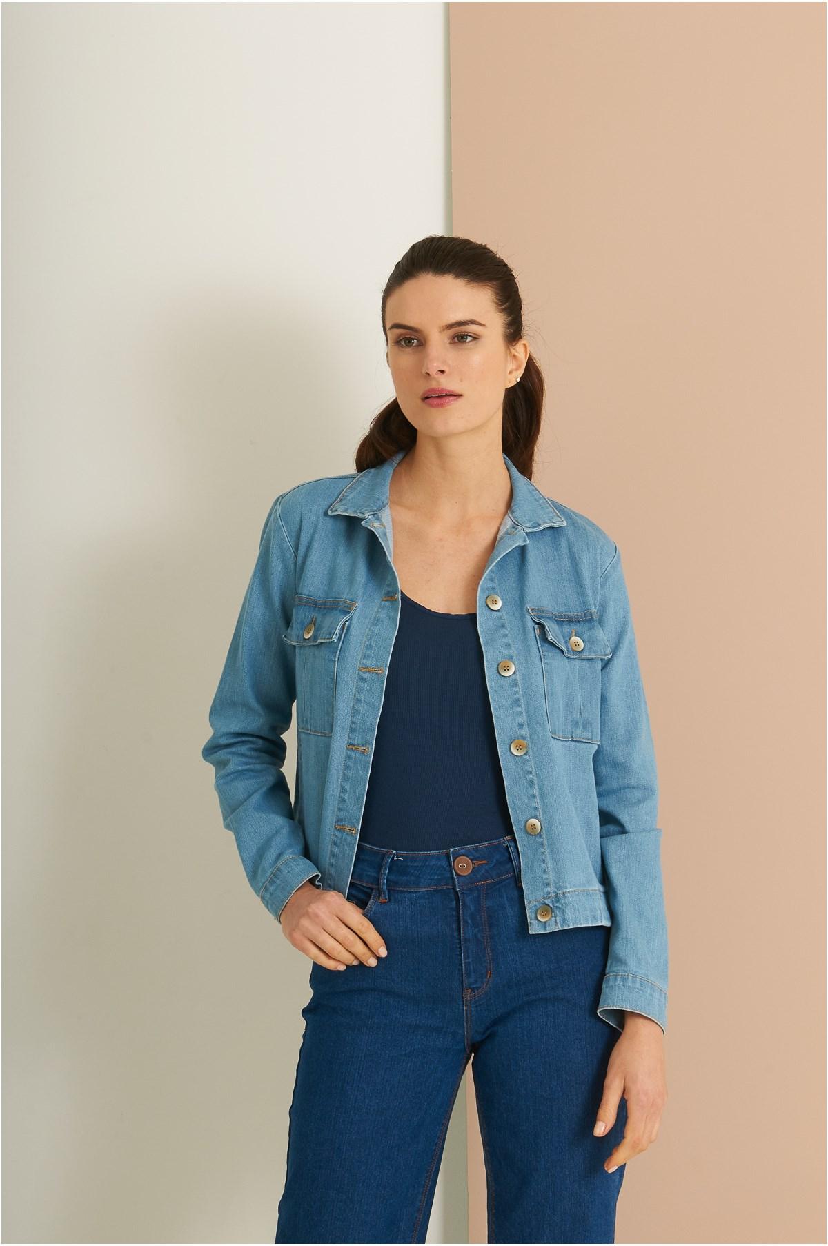 Jaqueta Bolsos Com Prega Jeans