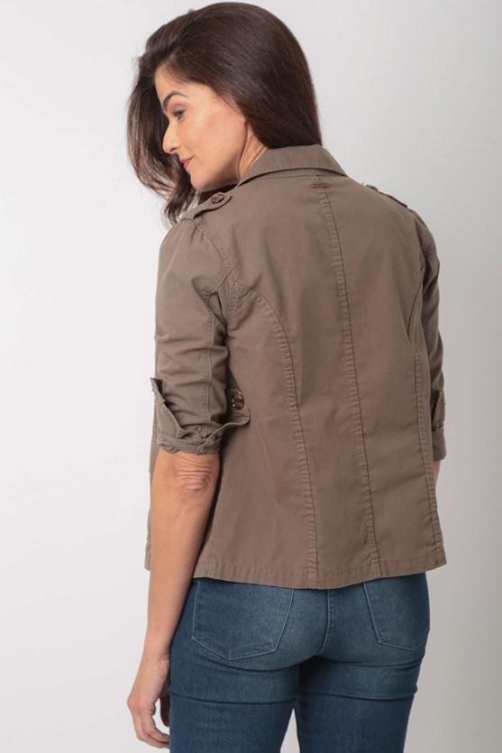 Jaqueta com bolsos algodão bg caqui