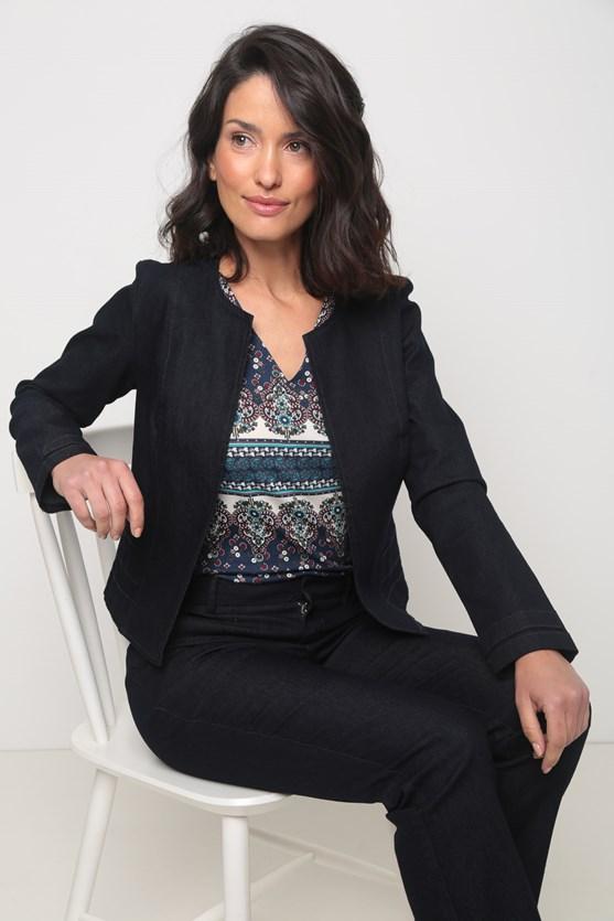 Jaqueta jeans alfaiataria escura