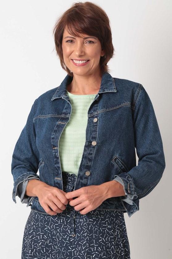 Jaqueta jeans algodão média
