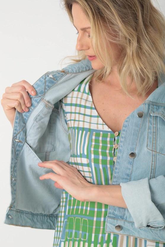 Produto Jaqueta jeans de algodão bolso funcional clara