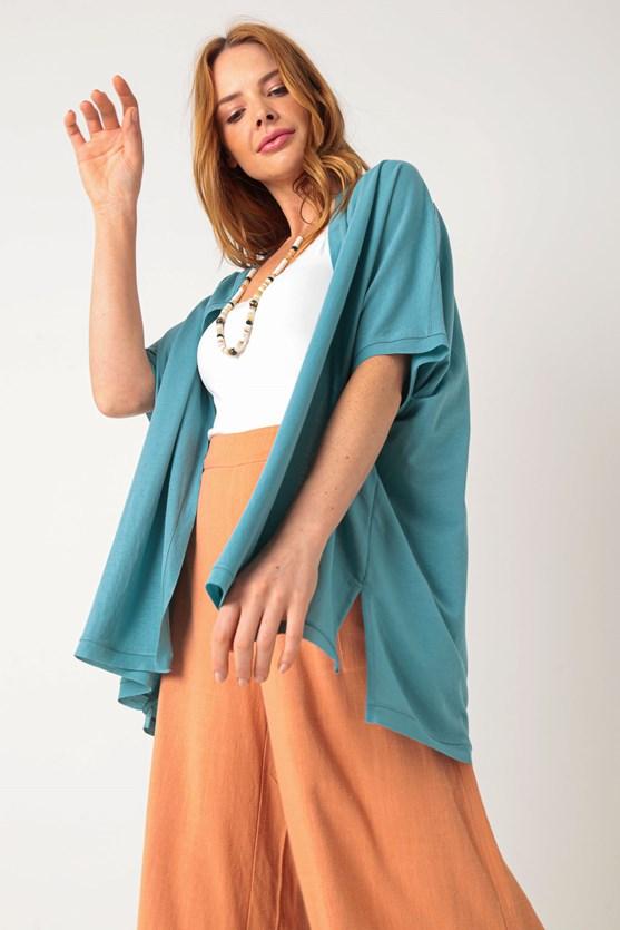 Kimono malha poliamida corte a fio az azul