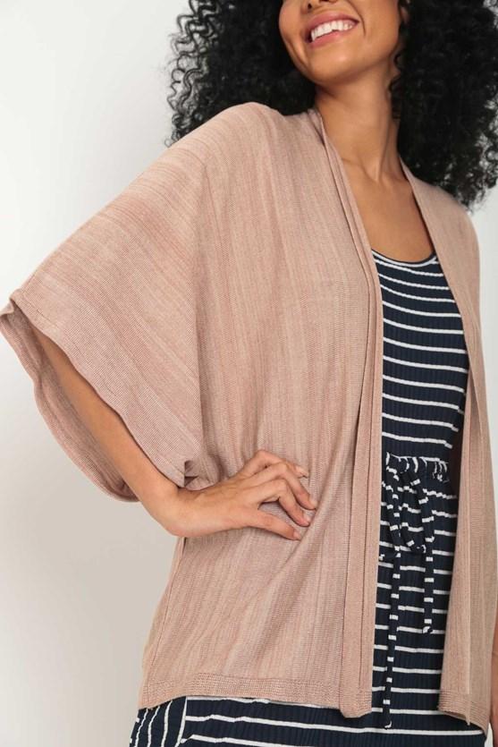 Kimono tricot manga curta ampla bege