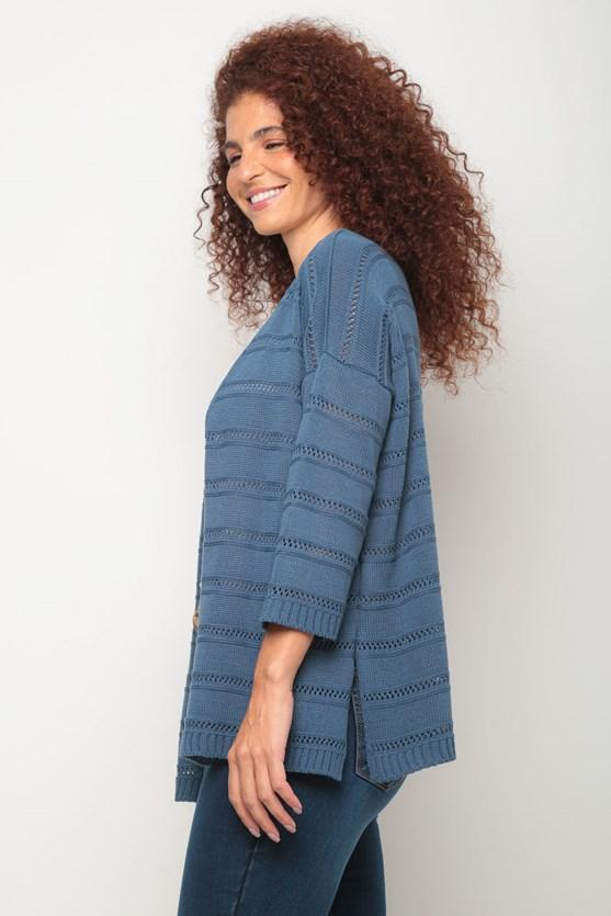 Kimono tricot ponto aberto az azul