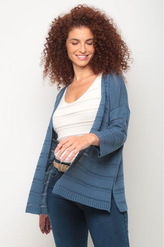 Kimono tricot ponto aberto azul