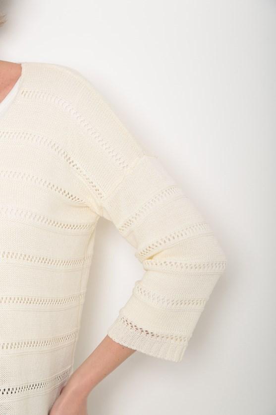 Kimono tricot ponto aberto off white