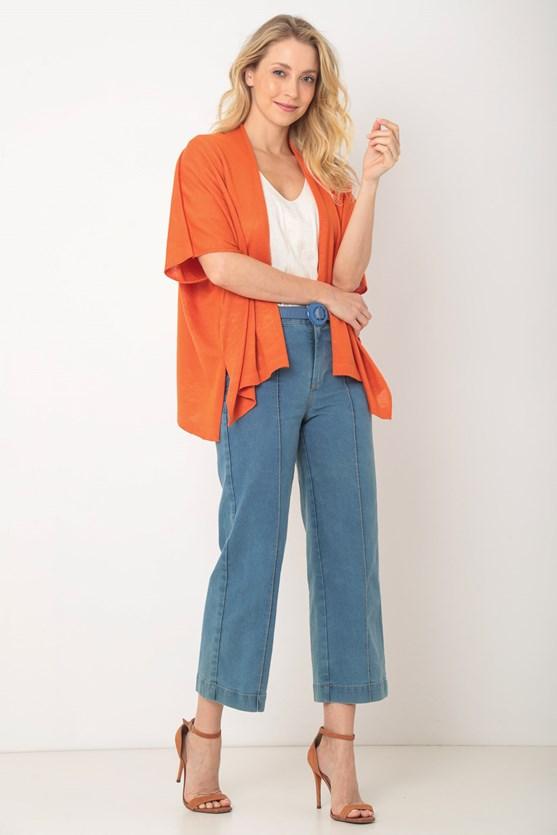 Kimono tricot pontos delicados laranja