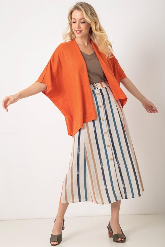 Kimono tricot pontos delicados lj laranja