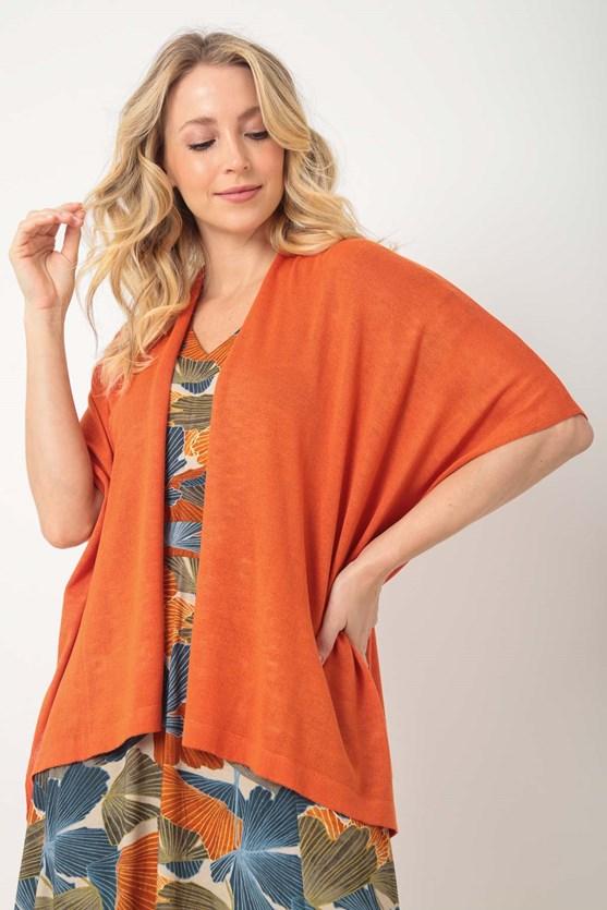 Produto Kimono tricot pontos delicados lj laranja