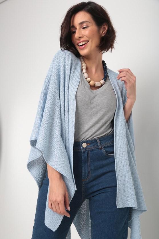 Poncho tricot pontas azul