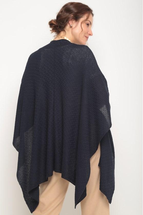Poncho tricot pontas azul marinho